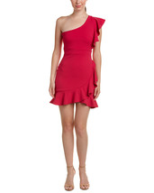 Just Me Fuchsia Ruffle One-Shoulder Social Dress