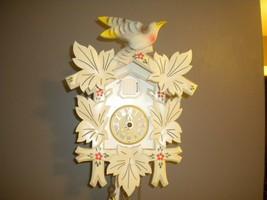 Vintage White  Cuckoo Clock 1-day-movement Carved  Rare  color  Rare bir... - $284.05