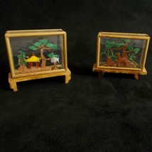 Asian Cork Sculpture Lot 2 Glass Cases Bamboo Trim Plastic Accents - $29.69