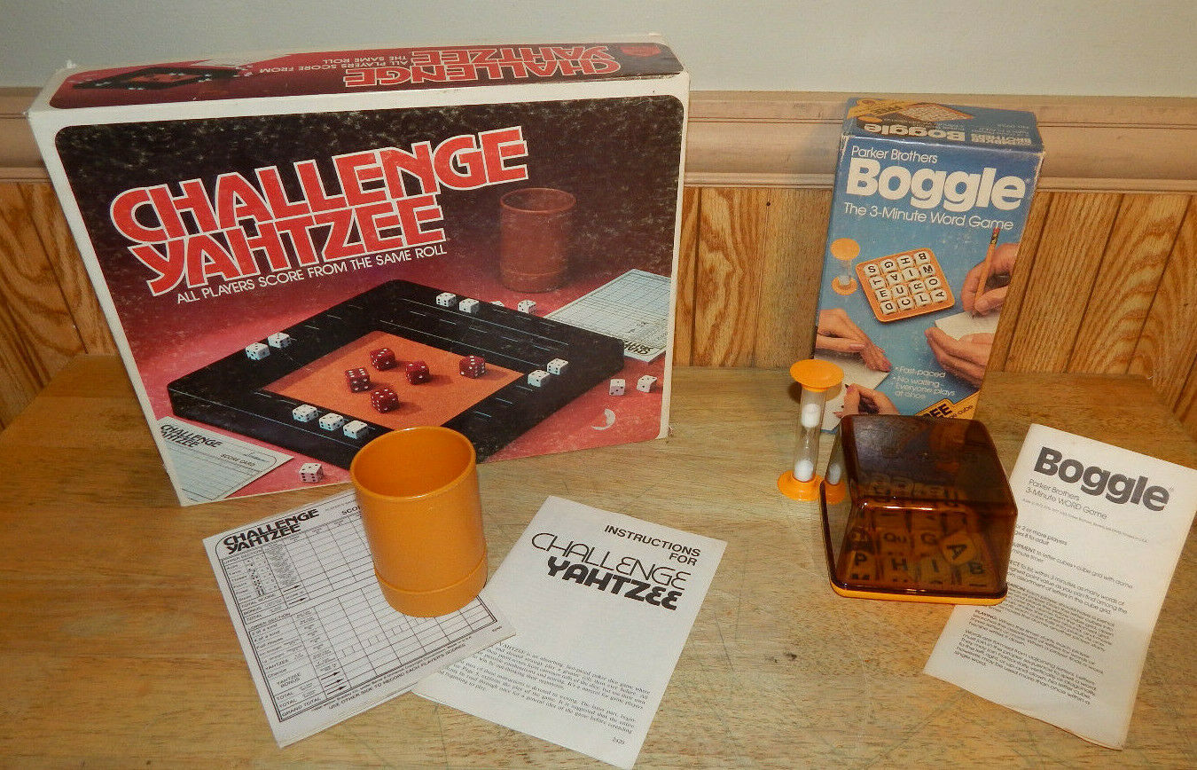Primary image for Vintage Parker Brothers Boggle Hidden Word Game and Challenge Yahtzee 1980