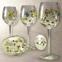 Set of 4 LENOX Hand Painted Butterfly Meadow Tall Balloon Wine Glasses NEW IN BO - $98.99