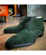 Men's green ankle suede leather Chukka boots, Formal dress leather Chukk... - $169.97+