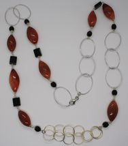 Silver necklace 925, Jasper Oval, Onyx, Length 90 CM, large circles image 3