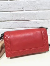 AUTHENTIC CHANEL RED SMOOTH CALFSKIN REVERSO MEDIUM BOY FLAP BAG RHW image 11