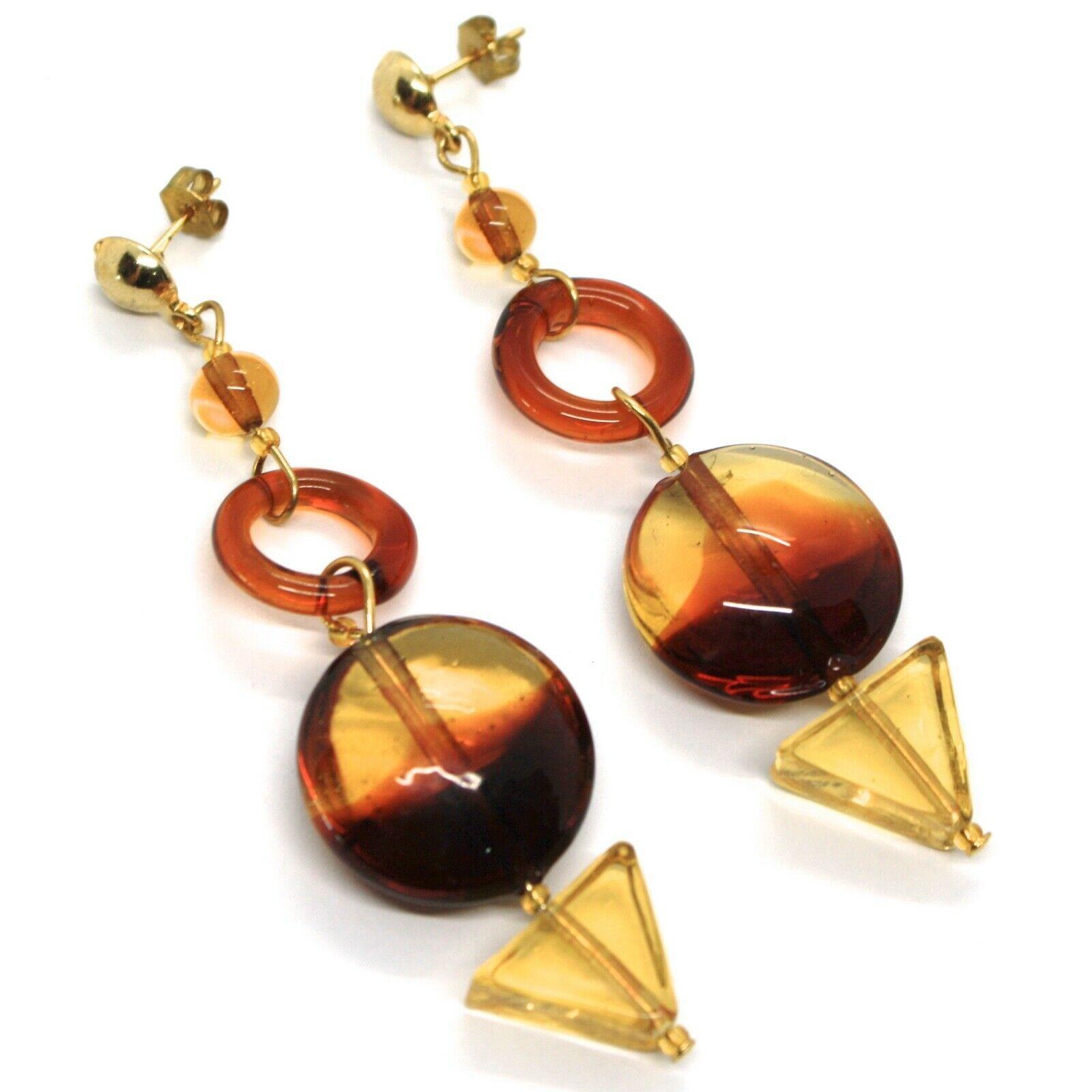 Earrings Antica Murrina Venezia, Disco Degrade Orange Yellow, Triangle