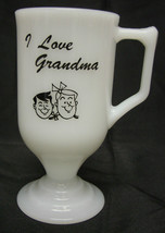 Milk Glass Mug White Opaque I Love Grandma Coffee Pedestal Vintage - $21.53