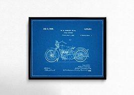 "1928 Harley Motorcycle Patent - Blueprint Style - Art Print - 16"" tall x... - $26.00"