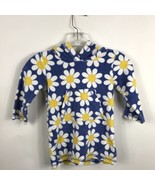 Mini Boden Toddler Girls 1.5 2 Yr Blue Flower Dress Terry Cloth Hoodie C... - $19.39