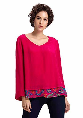 Benares Red V Neck Tops - Viscose, Layered Full Sleeve Tops for Women (XL)