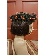 Evergreen berry head wreath green orange fairy Christmas dance - $30.00