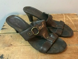A2 by Aerosoles Brown Leather High Heeled Strap Buckle Sandals Slides Mu... - $9.74