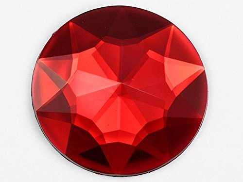 Primary image for 43mm Red Ruby H103 Flat Back Round Acrylic Gems Pro Grade Individually Wrapped -