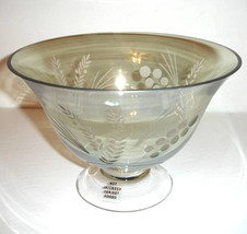 "Lenox Etchings Crystal 9"" Footed Serving Bowl Green & Clear New - $34.90"