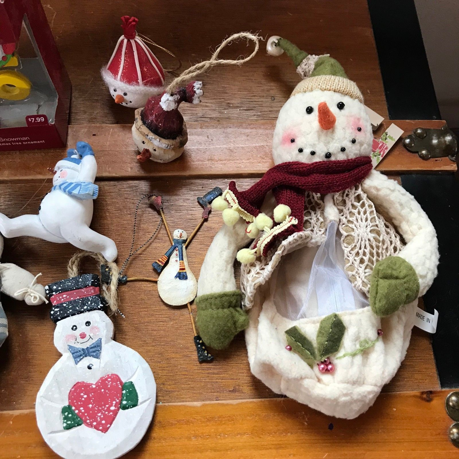 Estate Lot of Painted Metal Wood Fabric Resin Hallmark Old World SNOWMAN Christm