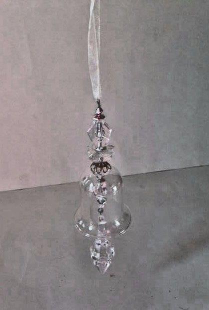 "Bell Ornament Clear Wedding Gift Jingle Prisms 7.5"" L Birthday Valentine Decor"