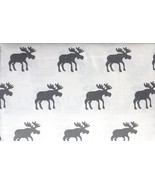 Nordic North Gray Moose on White Cotton Flannel Sheet Set King - $61.00