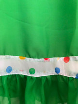 60s-70s Sheer Chiffon Rainbow Polka Dot Kelly Green Ruffle Skirt Boho Folk Dress image 5