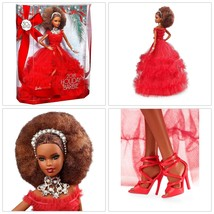 Barbie 2018 Holiday Doll Brunette Red Dress Birthday Xmas Gift Hobby Acc... - $59.17