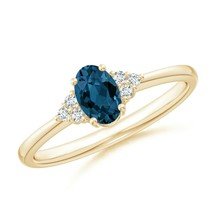 Solitaire Oval London Blue Topaz and Diamond Promise Ring Gold/Platinum - $598.88+
