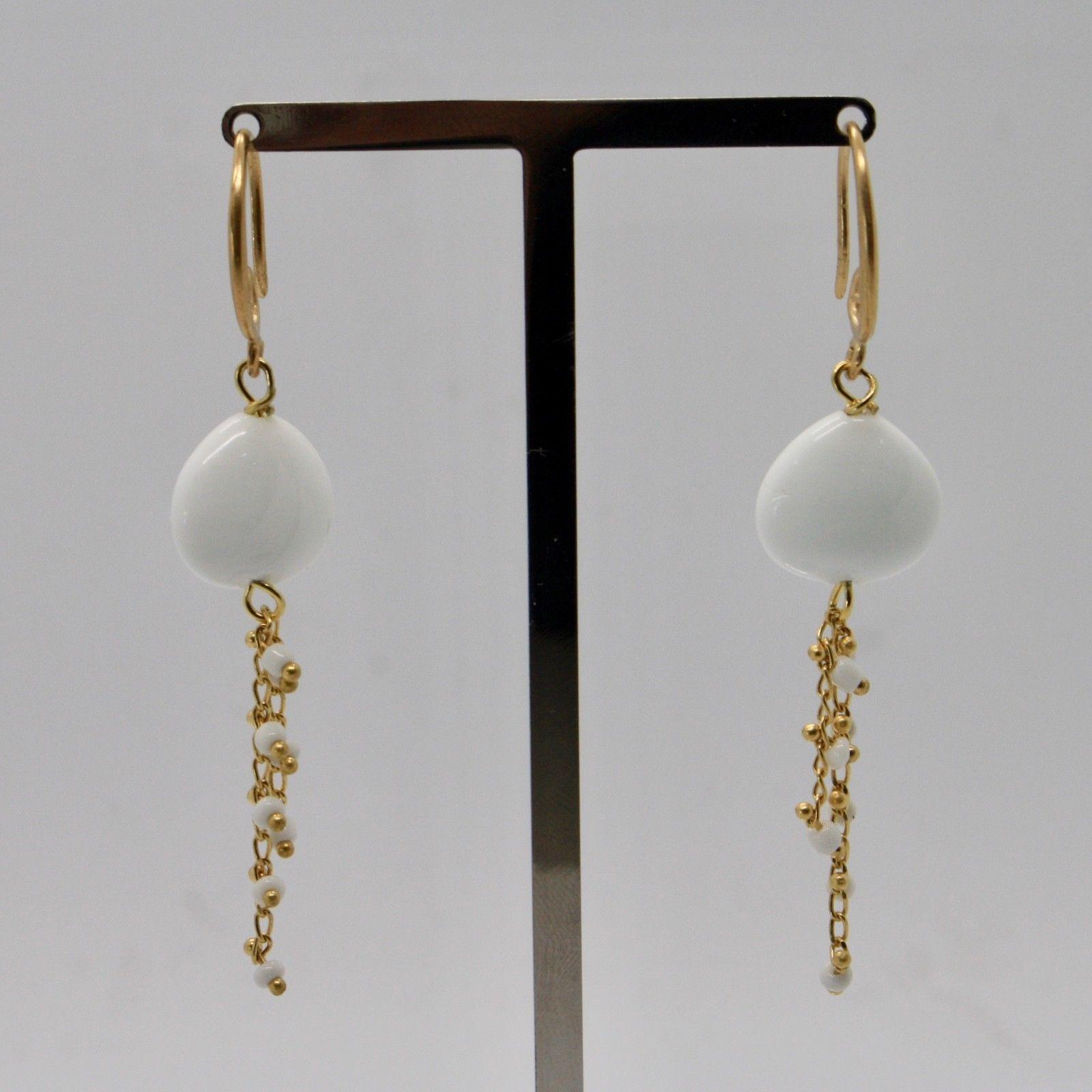 EARRINGS ANTICA MURRINA VENEZIA WITH MURANO GLASS WHITE AND GOLD OR570A02