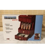 Deluxe Coin Sorter Battery Powered Cherry Solid Cherry Wood Change Count... - $36.58