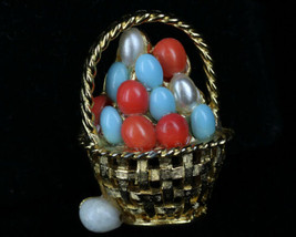 Rare Vintage  Boucher Attributed Easter Egg Basket Pin Brooch Art Glass ... - $35.99