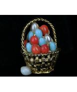 Rare Vintage  Boucher Attributed Easter Egg Basket Pin Brooch Art Glass ... - $35.99