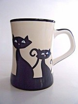 Hues N Brews Coffee Mug Black Cat & Paw Prints Design - $14.80