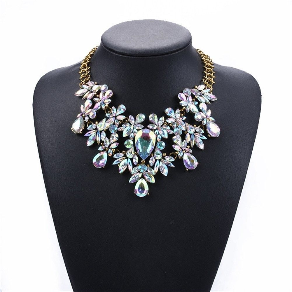 Women Statement Necklace Bling Choker Crystal Fashion Large Costume J