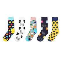 5 Pack Color Women Summer Socks Cotton Socks Crew Socks Calf Socks Cat/Polka Dot