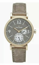 Lucky Brand Carmel Boyfriend Gold Case Taupe Leather Suede Watch 38mm Unisex NEW - $56.99