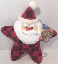 Sugar Loaf Christmas Santa plush decorative star pillow red squares checks w/tag - $9.89