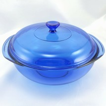 Pyrex 024 Cobalt Blue Bowl 2 qt Serving Casserole w/ 024C Lid Made in th... - $24.95