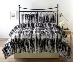 SILHUET 3pc Reversible Black, White Print Comforter Set FULL/QUEEN, KING Size Be - $42.88 - $54.88