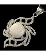 Alducchi Weiß Regenbogen Kunstdiamanten Feuer Opal -cz 925er Silber Anhä... - $40.06