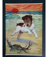 Vintage Wire Hair Fox Terrier Dog on Beach w/ Sand Crab Dog Print Sunset... - £17.90 GBP