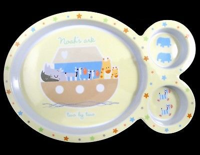 Cudlie Noah's Ark Child Baby Toddler Melamine Divided Plate Animals Two By Two - $3.95