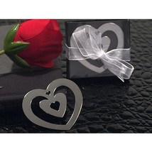 Double Heart Shaped Chrome Metal Bookmark with Heart Cut Out - 84 Pieces - $82.95