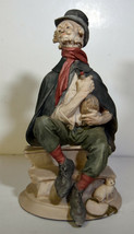 "11"" Vintage Capodimonte Style Porcelain Statue Hobo Drunk Bottle and Kitty - $66.49"