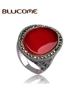 Blucome Turkish Style Vintage Ring Red Jewelry Hollow Out American Large... - €11,17 EUR