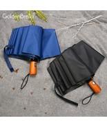 GoldenBrella® New Wooden Handle Automatic Male Umbrella Rain Women For Gift - $27.73