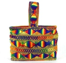 Vtg 1970s Rainbow Knit Purse Tote Hand Bag Satchel South American Baja F... - $39.59