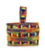 Vtg 1970s Rainbow Knit Purse Tote Hand Bag Satchel South American Baja F... - $39.59
