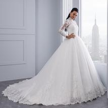 High Victorian Lace Neckline Illusion Back Long Sleeve Luxury Lace Ball Wedding  image 4