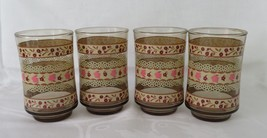 Libbey Juice Glasses, Pink & Maroon Flowers with Brown - $12.00