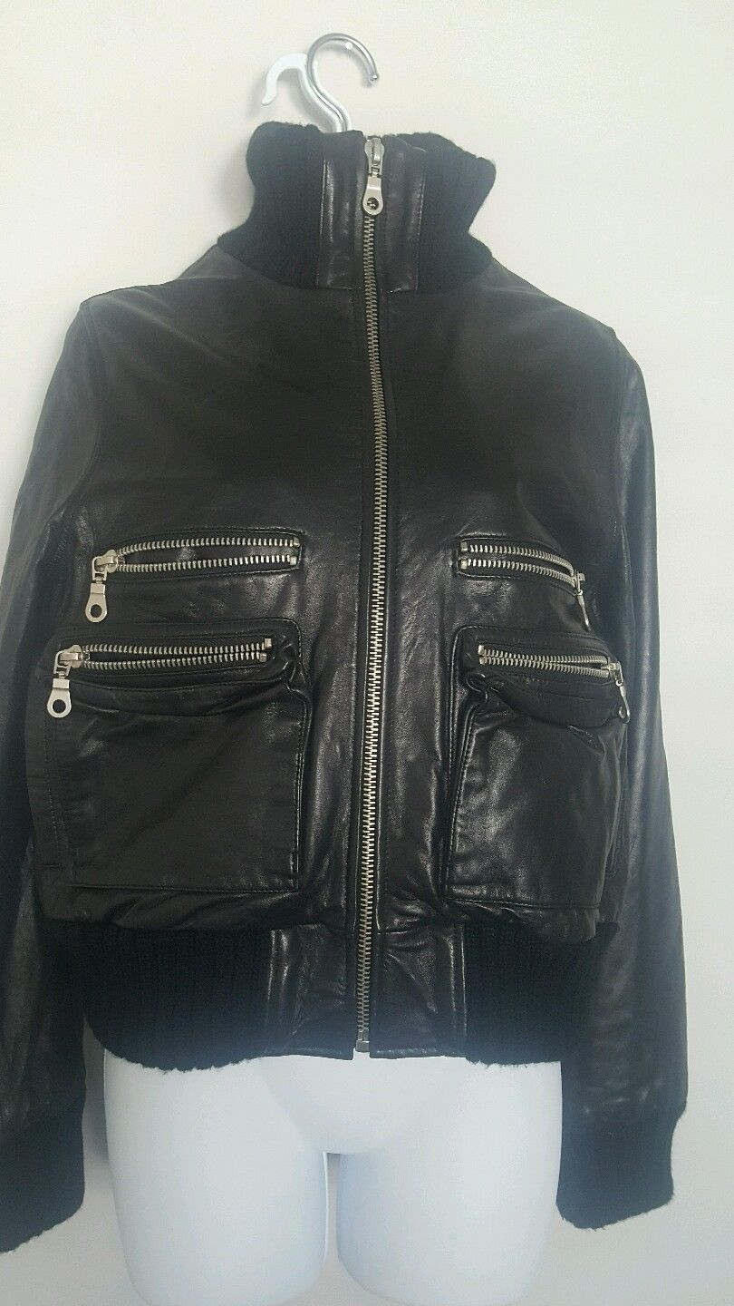 Primary image for UNITED FACE Leather Bomber JACKET  BLACK Aviator Flight Lined Plush Coat
