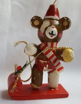 Chippy Vintage Wood Bear Christmas Xmas tree holiday Ornament • needs TC... - $14.26