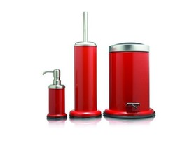 Bathroom Accessories Set Sealskin Acero Red - £97.45 GBP