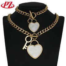 Shell Style Stainless Steel jewelry sets heart shape Key Jewelry Gold co... - $26.96