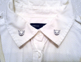 Cat Collar Pins Silver Cat Sweater Pins Kitty Sweater Clips Kitten Colla... - $32.00